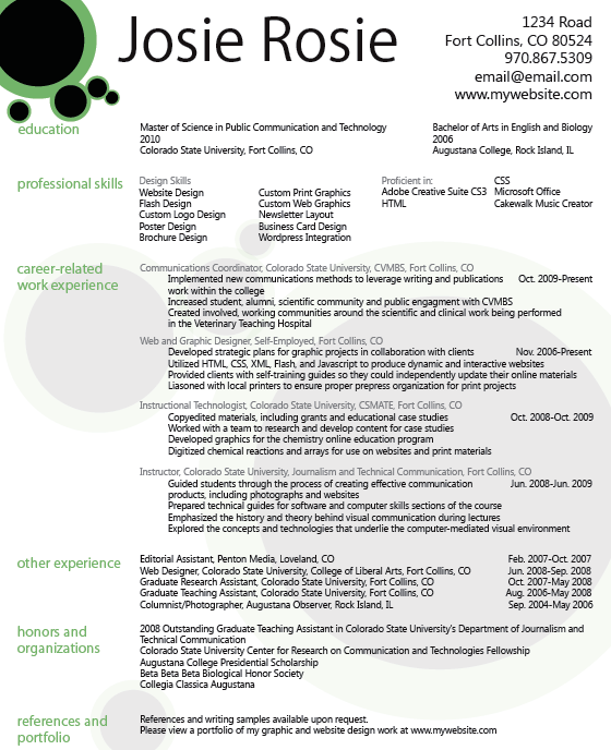 graphic design resume the knownledge